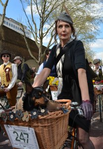 Tweed Run lady and dog